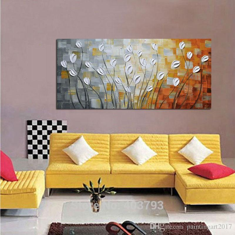 Pure Hand Painted Red Flower Decorative Wall Pictures Modern Abstract Oil Painting On Canvas Art Home Decor