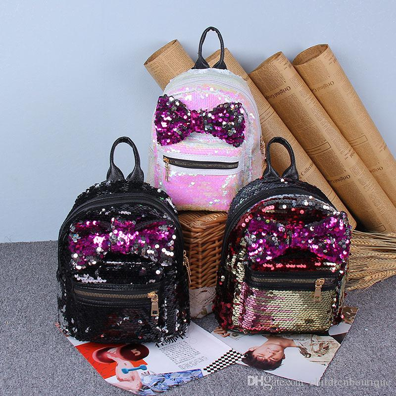 Fashion Korean Teenager Kids Backpack Children School Bags Cute Sequins  Bowknot Shoulders Bags Girls Leisure Travel Bags Christmas Gifts Backpacks  For ... 5050ecfcab058