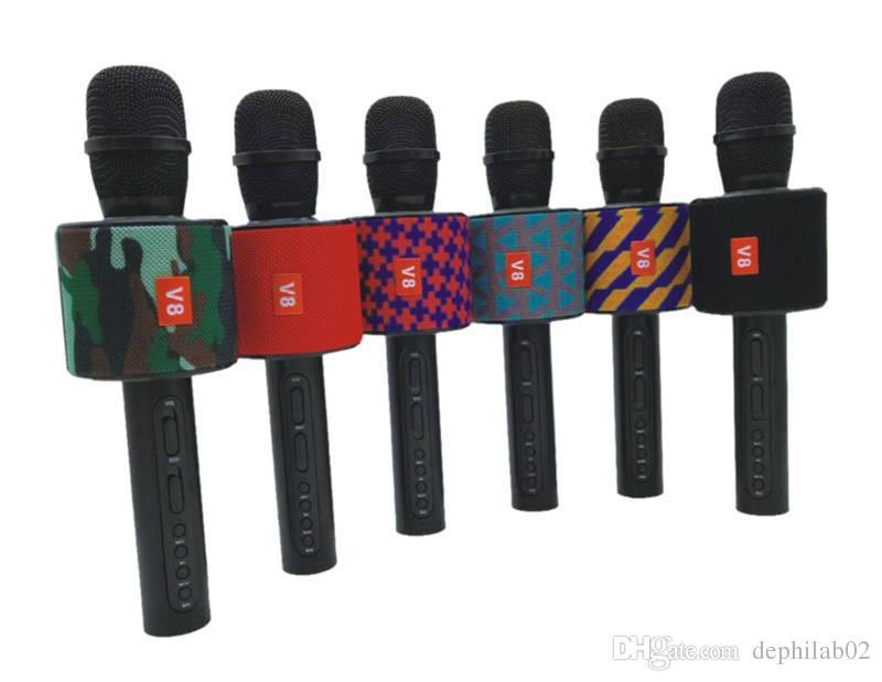 2018 V8 Microfone Portátil Sem Fio Bluetooth Player Karaoke KTV Cantar Gravar Música Com Microfone Alto-Falante Para Celular Smartphone Canção
