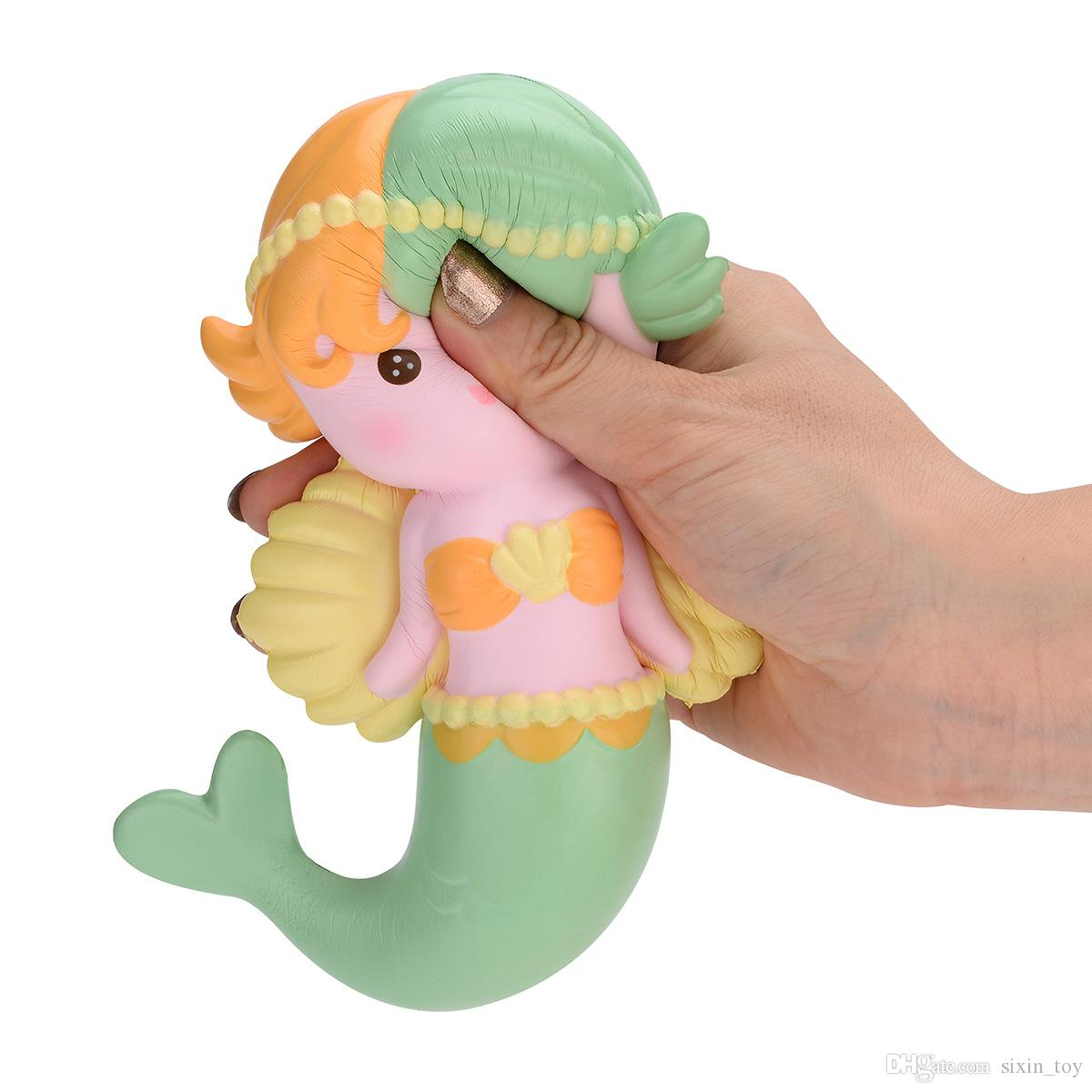 New Arrival Angel Wing Mermaid Squishy Toy Soft Squeeze Slow Rising Decompression Toys Phone Charms Home Dector Kids Gift