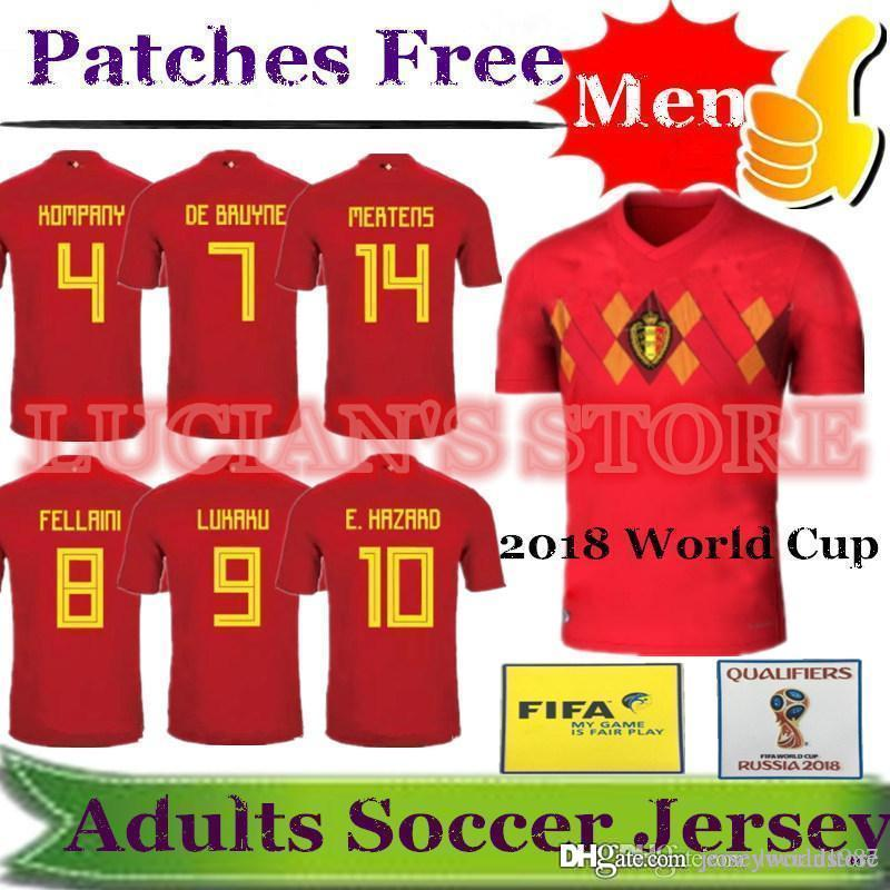 2018 World Cup Belgium Home Red Top Thailand Quality LUKAKU MERTENS E.HAZARD  KOMPANY DE BRUYNE FELLAINI Soccer Jersey Belgium Football Shirt UK 2019 From  ... b7bf59435