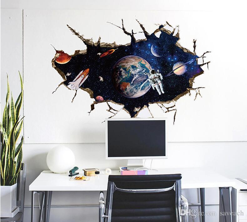 Galaxy Space Planet Stars 3d Window Poster Broken Wall Creative Decorations  For Kids Baby Nursery Bedroom Wall Sticker Decor Wall Sticker Home Decor  Wall ...