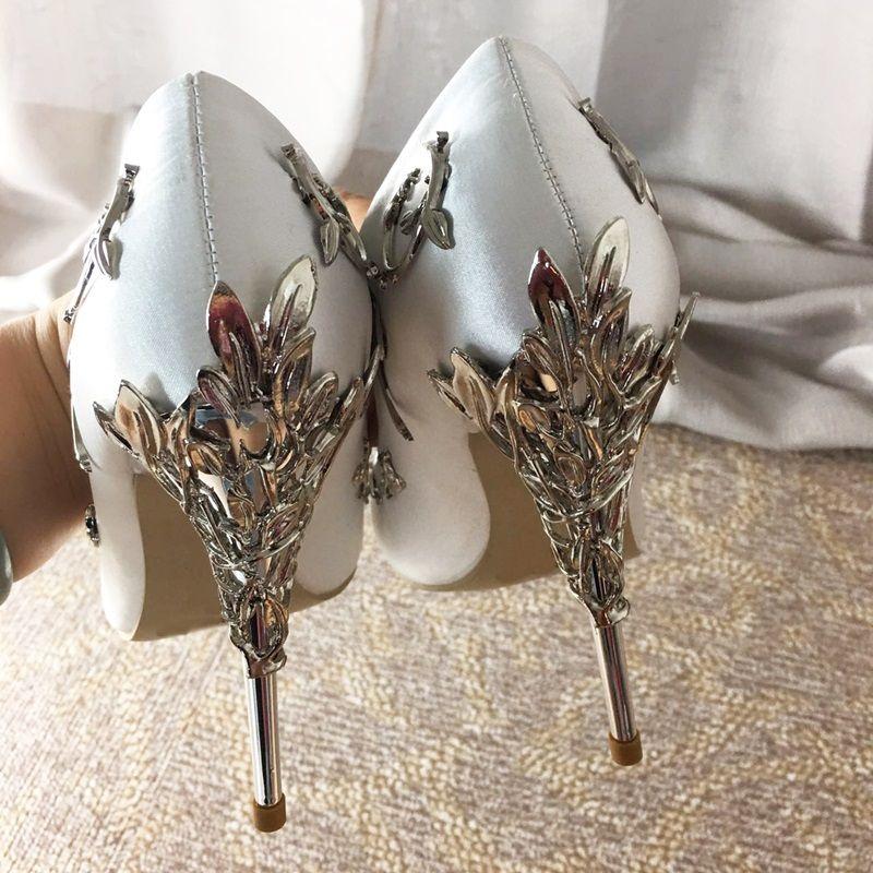 79a9c50c3e271 New 2018 Pointy Toe Stunning Wedding Shoes Woman Filigree Leaves Metal Heel  Women Eden Pumps Bridal Dress Satin High Heels Saltwater Sandals Designer  Shoes ...