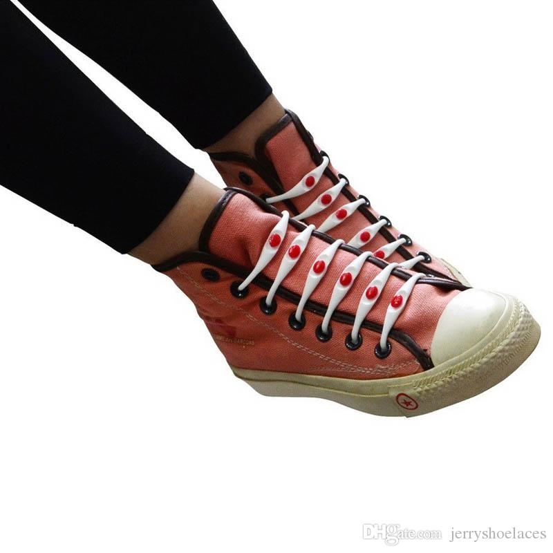 White And Red New Arrival Silicone Shoelaces For Adult And Kids Waterproof Utility Fit Strap For Shoes
