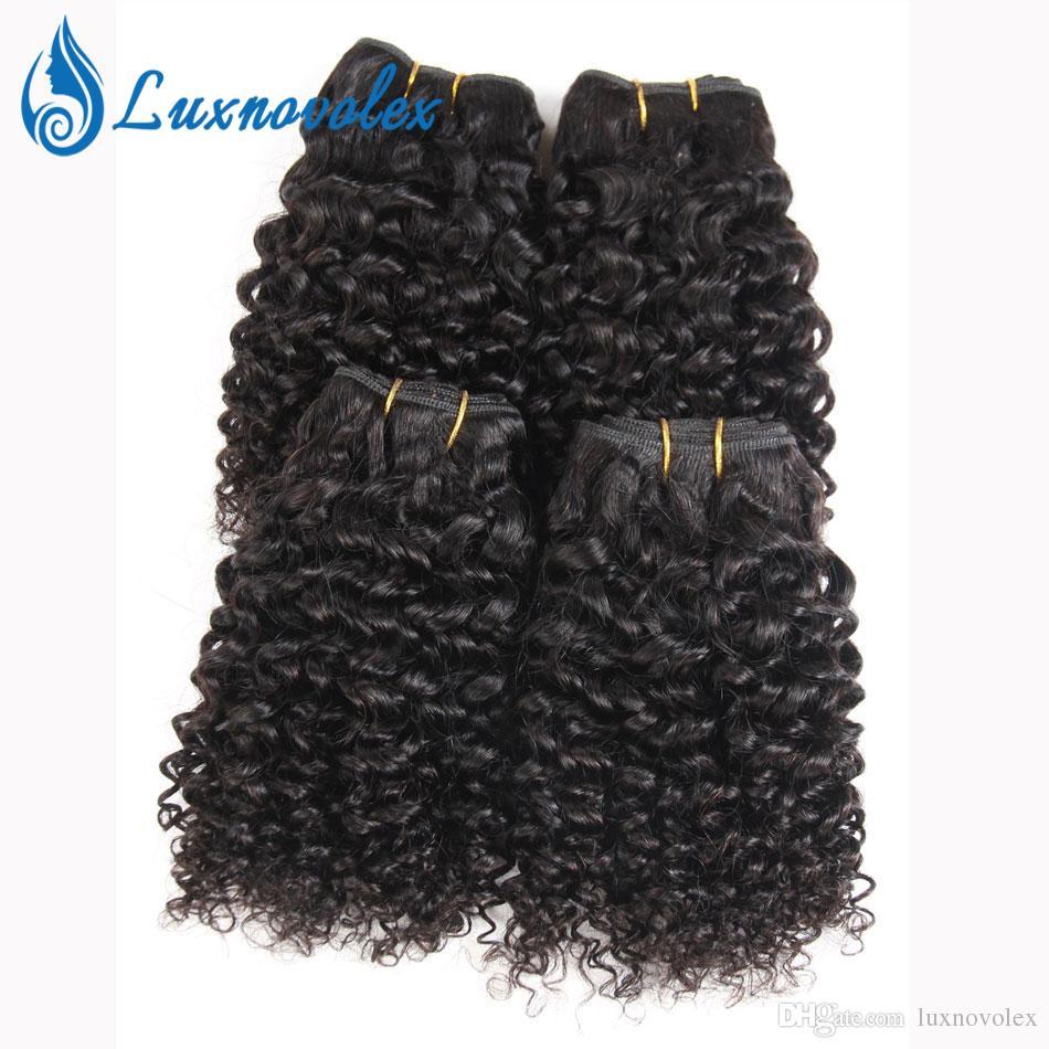 브라질 버진 헤어 4 번들 짧은 곱슬 곱슬 인간의 머리카락 9A 페루인 말레이시아 인디언 컬리 헤어 위브 자연 색상 50g / 개 총 200g