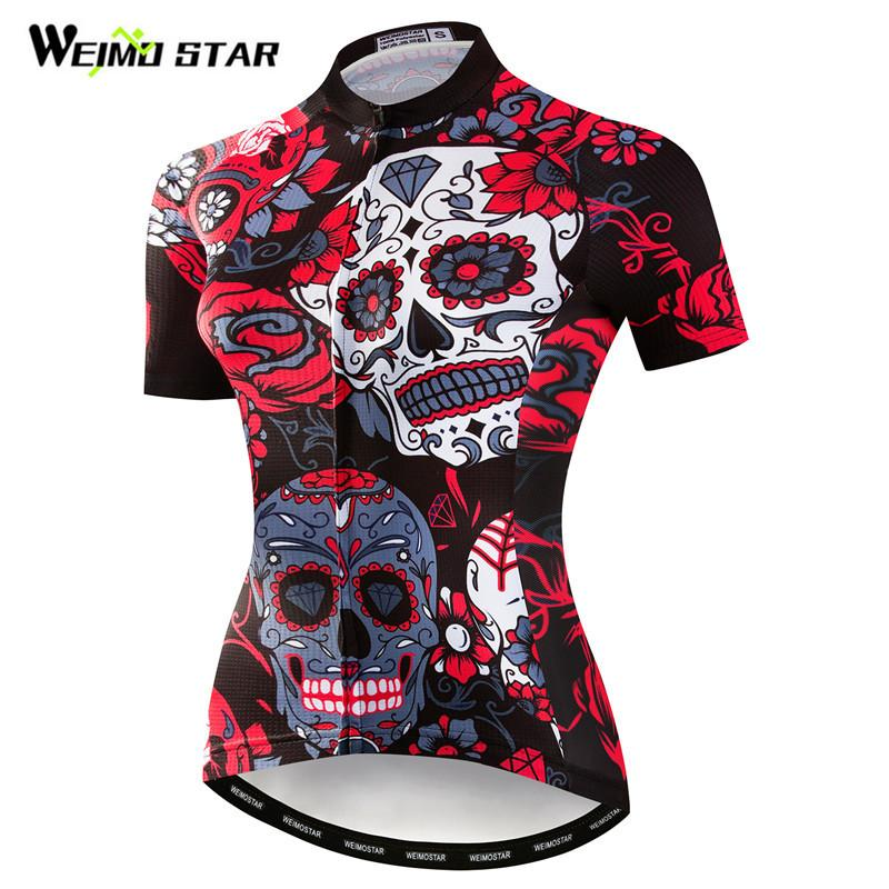 276c92c1f Weimostar Skull Cycling Jersey Women Mountain Bike Jersey Summer Short Sleeve  Mtb Bicycle Cycling Shirt Sport Cycle Wear Mountain Bike Gear Retro Cycling  ...