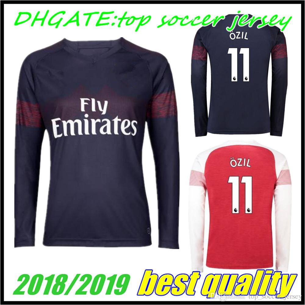 d9836ae9b48 2018 Arsenal Gunners OZIL AUBAMEYANG Long Sleeve Soccer Jersey 18 19 ...