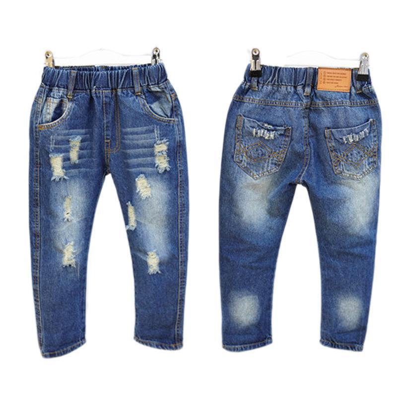 Mihkalev Fashion kids jeans strappati ragazza jeans distressed 2018 primavera bambini pantaloni buco rotto pantaloni delle neonate costume