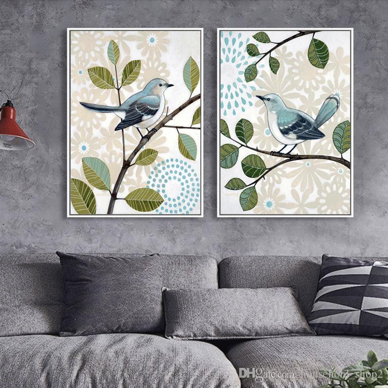 2018 pinturas de pared de estilo rústico retro mariposa inseparable rey pájaro carteles lienzo arte impresión pintura pared cuadros para decoración del hogar