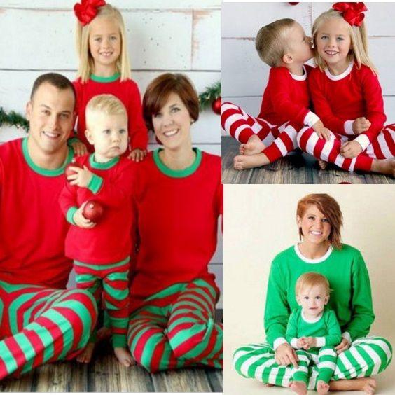 955863a7df444b Xmas Família Natal pijamas Set Red Green Listrado Homewear Nightclothes  pijamas bedgown Sleepwear Atacado Hotsale Em estoque DHL