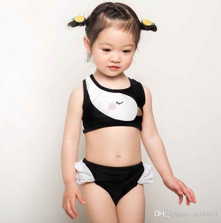 a6b24784f35cb 2019 New Summer Kids Swimsuit Baby Girl Cartoon Swan Swimwear Girls  Tankinis Swimsuits Cute Childrens Bathing Suit 13401 From Sunbb03