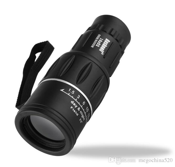 Black Single Focus 16x52 Zoom Monocular Telescope Optic Lens Travel Spotting Scope HD Monoculars Telescopes Outdoor Device Free Shipping