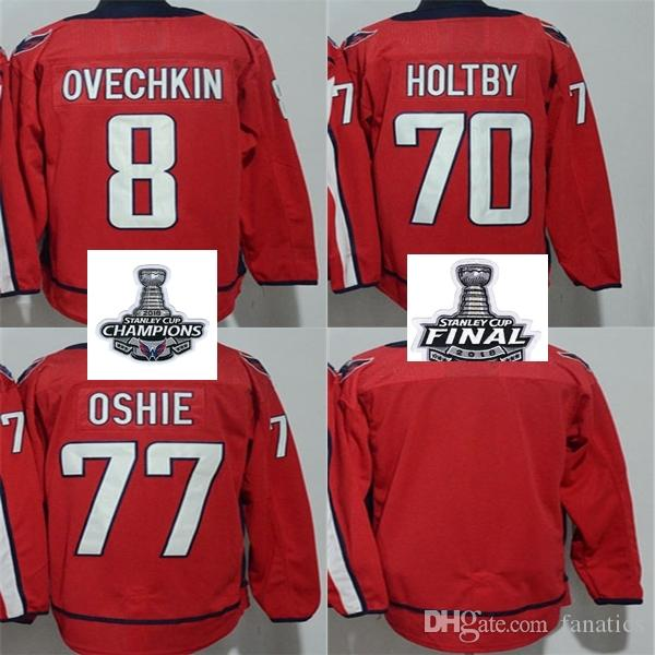 4d2b08454 2019 Cheap 2018 Stanley Cup Champions Final Patch Women Kid Washington  Capitals 8 Alex Ovechkin 70 Braden Holtby T.J. Oshie Blank Hockey Jerseys  From ...