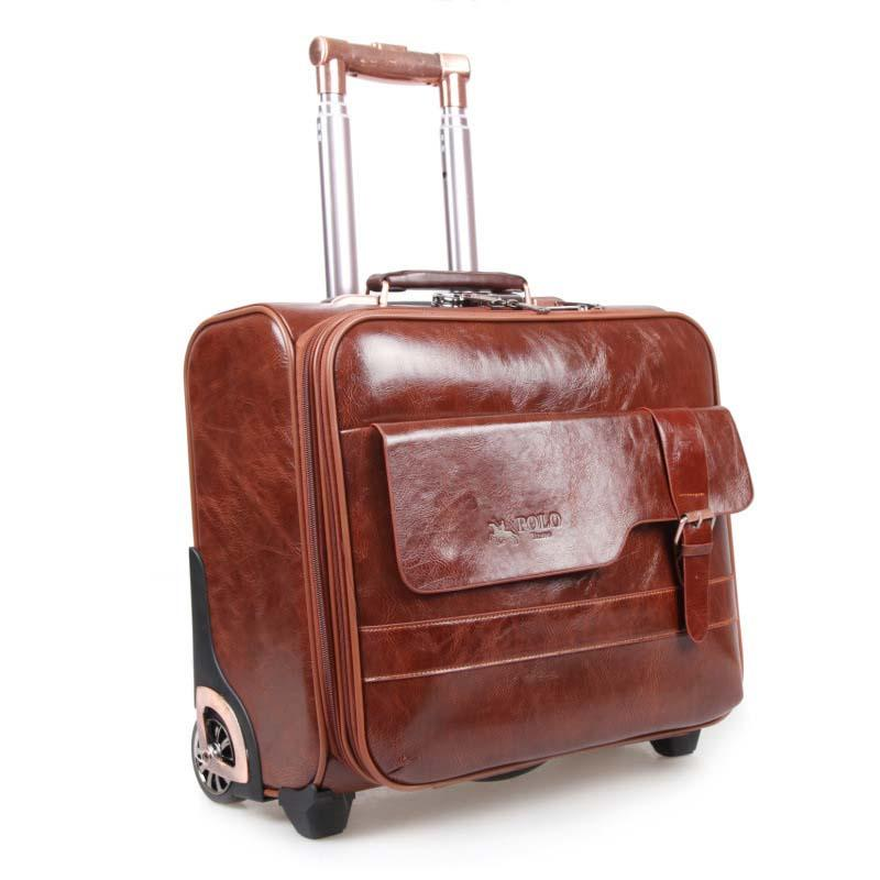 4c4fbde53b7c Brown Retro Rolling Luggage Spinner 16 Inch Men Business Cabin ...
