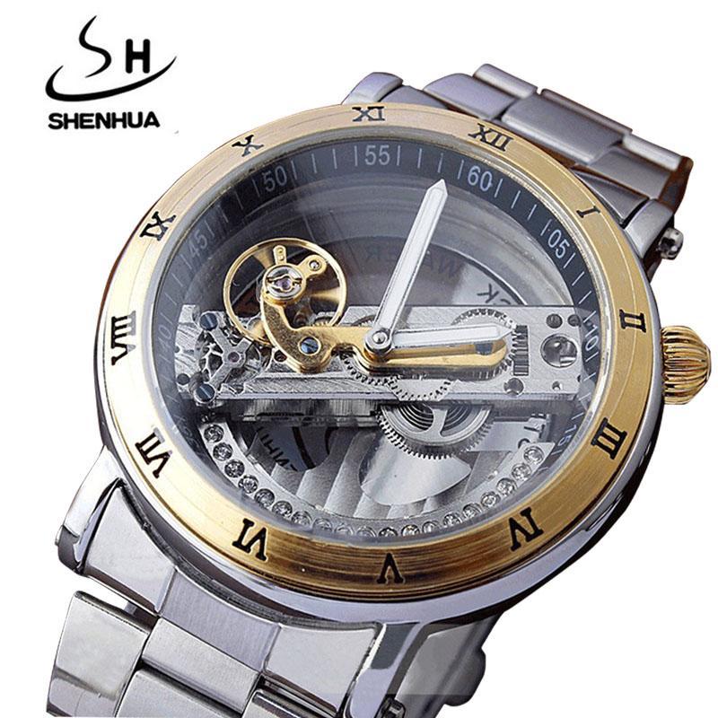662a2b9568b Compre Homens Mecânicos Assista Esqueleto Transparente Volante De Luxo De  Aço Inoxidável Completa Automático Masculino Relógio De Pulso Mecânico  Relojes ...