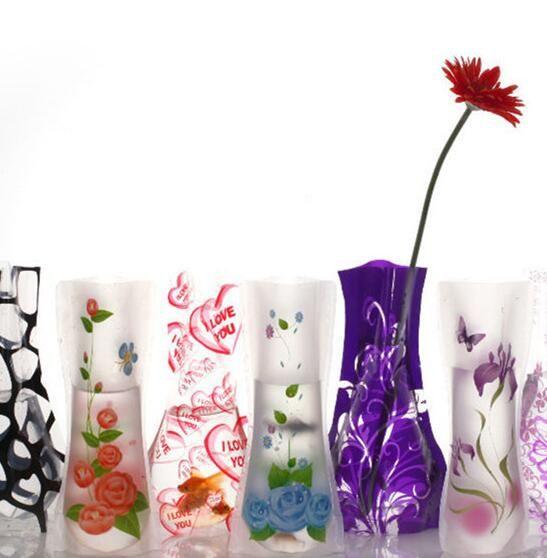 Foldable Reusable Plastic Flower Vase Unbreakable Creative Folding