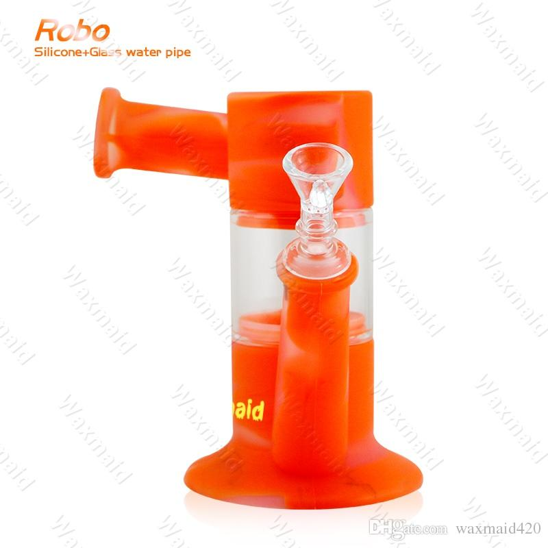 Bong Silicone Bong New Arrival 9 inches Glass Bong Dab Rig With Adapter and Bowl Inhale Perc Heady Water Pipe