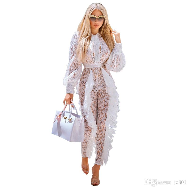 2019 Sheer Long Sleeve White Lace Jumpsuit For Women Sexy See