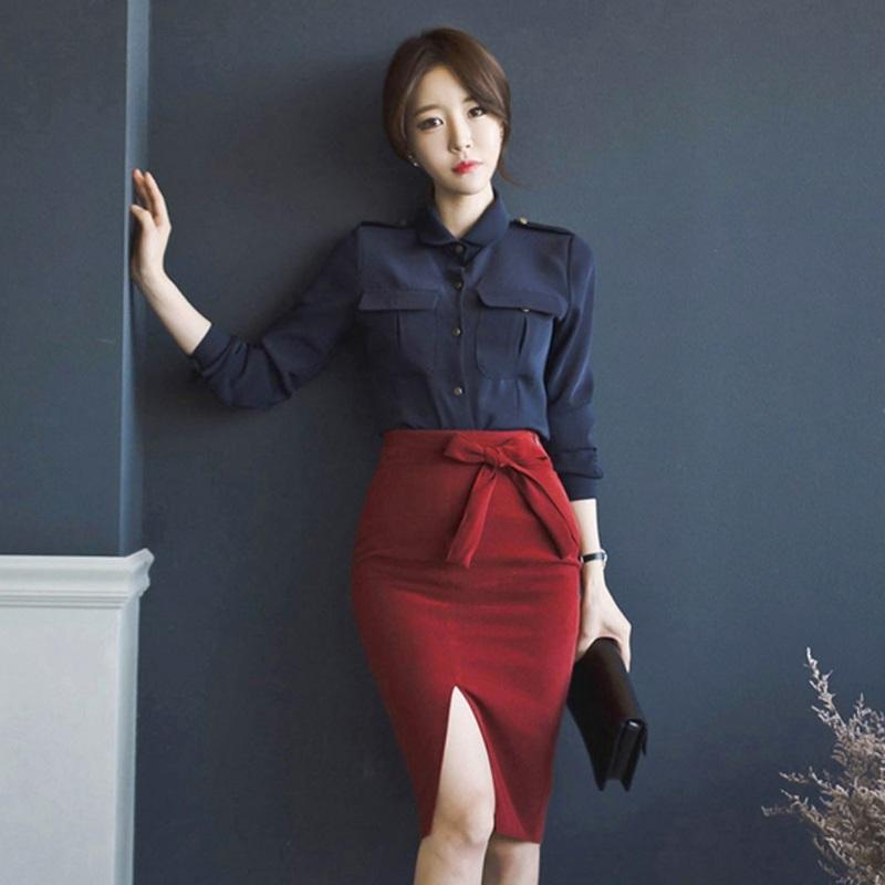 2018 Autumn new sexy slit bow wild simple and elegant package skirt And temperament was thin wild Navy shirt two piece