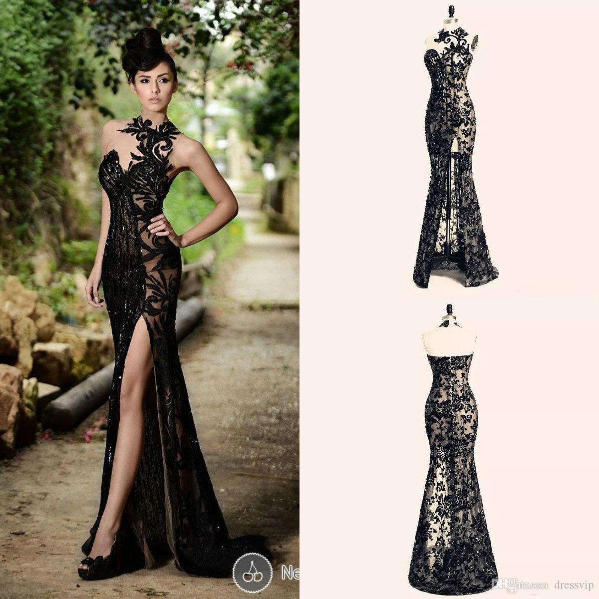 1bab7e4218e Hot Selling Beading Sexy Black Split Lace Evening Dress Split Long Prom  Mermaid Gowns Custom Made High Neck Sleeveless Sequins Lace Gowns Formal  Evening ...