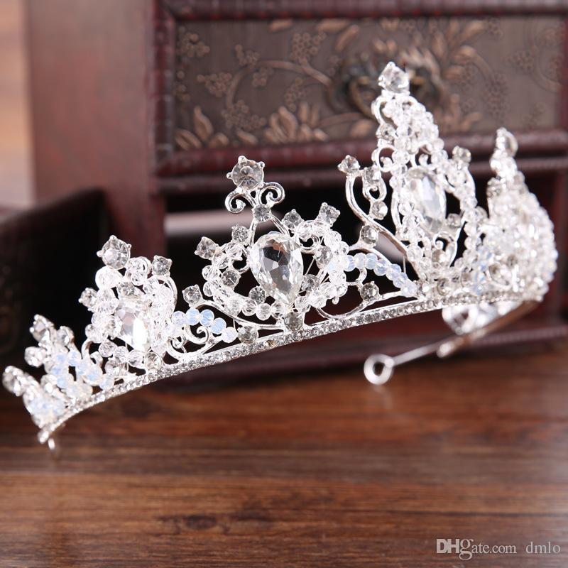 Princess Wedding Crowns Tiaras Bridal Tiara Jewelry Headpieces Tiaras for Women Silver Metal Crystal Rhinestone Baroque Hair Headbands