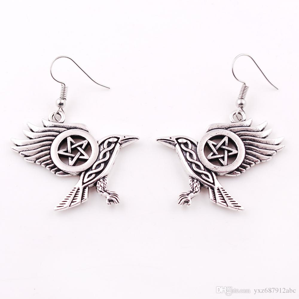 Fashion Flying Raven Knot Wiccan Pentacle five-pointed star Earring Crow Jewelry