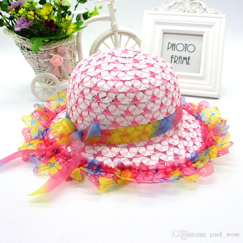 b6b5ad4b39a Kids Strawhat Topee Baby Summer Straw Hat Girl Silk Ribbon Flower ...