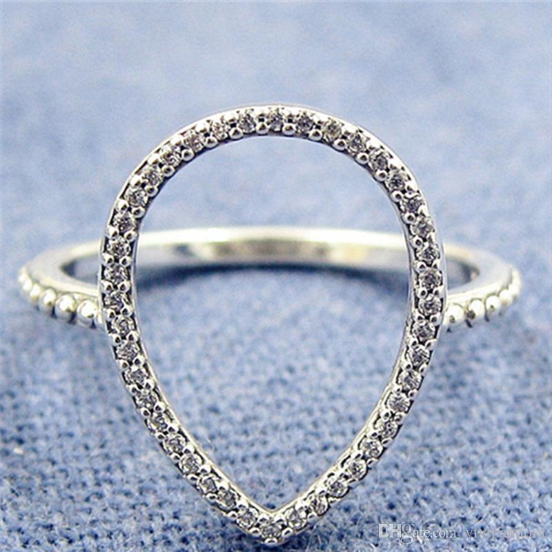 468da9f2a01d0 Women Ring 925 Sterling Silver European Pandora Style Charm Jewelry  Teardrop Silhouette Ring with Clear Cz