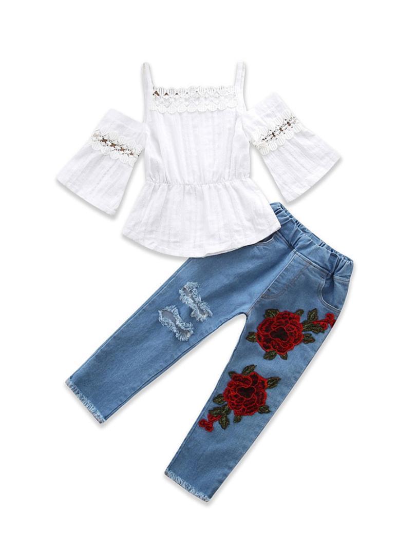 2df4826dc4a178 2019 1 6Y Summer Toddler Kids Baby Girl Off Shoulder Lace T Shirt ...