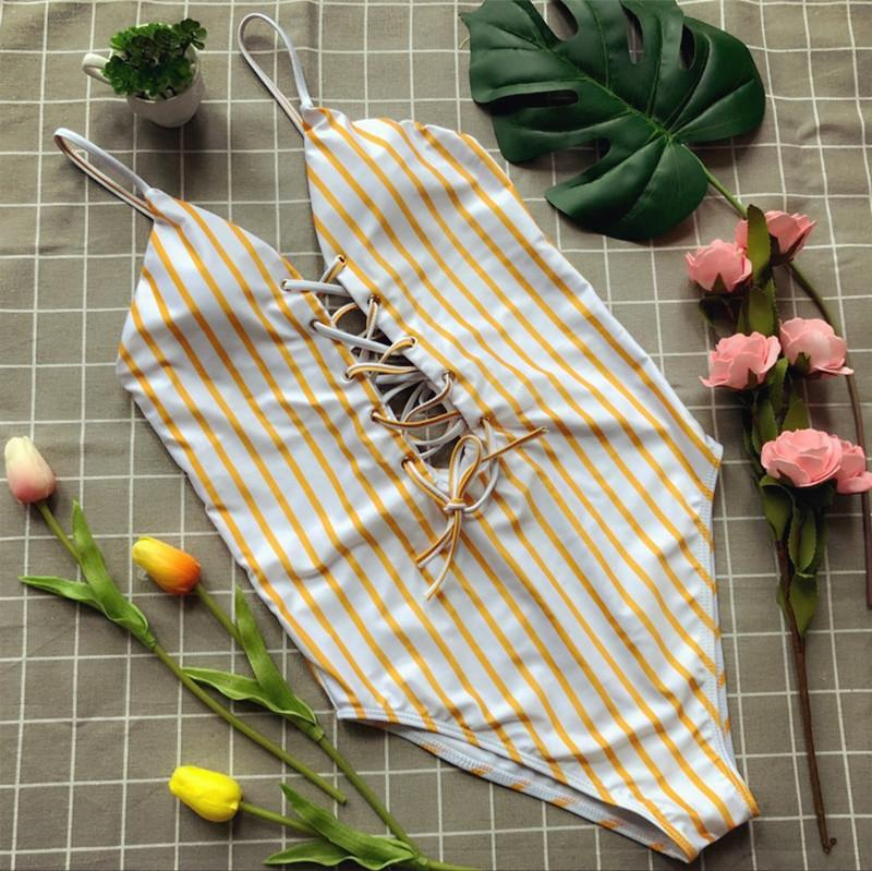 Bikini triangolare sexy a costine con cinturino in tulle a costine da bagno a triangolo giallo 2018