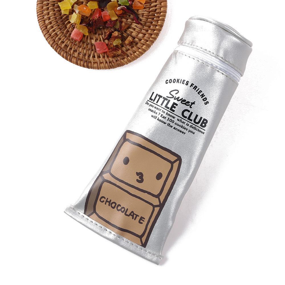 1 UNID de Dibujos Animados Galletas de Chocolate Salchicha Pasta de dientes en forma de PU Bolsa de almacenamiento de cuero Útiles Escolares Bolsa de la compra