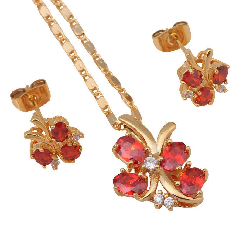Летающий buttefly Золотой Тон Серьги Ожерелье Ювелирные Наборы Красный Гранат Кристалл Здоровья Никель Свинца JS319
