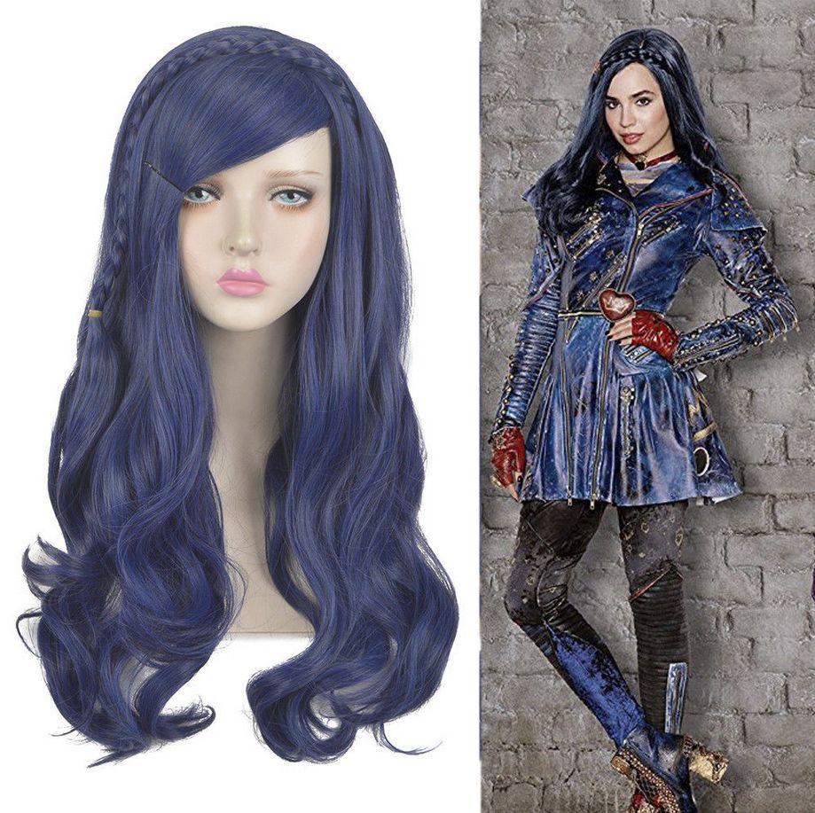 Long Dark Blue Wavy Braids WOMEN Wigs Descendants 2 Evie Cosplay Wig MM  Half Wig Caps Half Cap Wigs From Dong1236 1f51ce2561