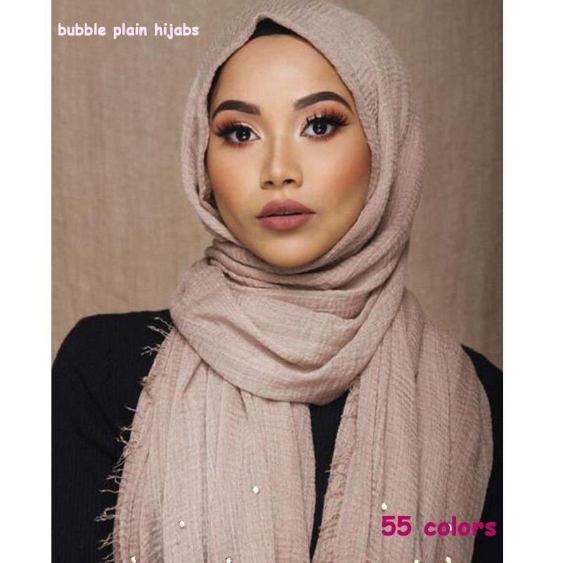 a952d88362c Acheter Femmes Peau Hijab Perle Bulle Plaine Maxi Écharpe Châle Mode  Musulman Hijabs Vente Chaude Foulards Châles Islamique Hijabs 55 Couleur De   53.17 Du ...