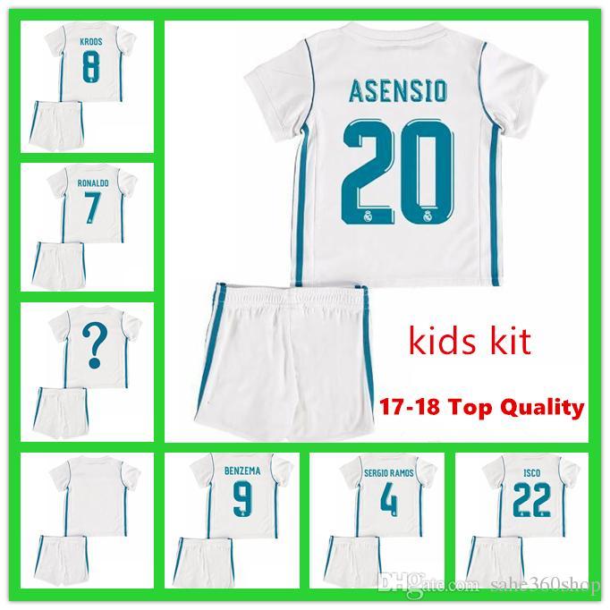 b455fada65b 2018 Kids Kits Real Madrid Football Jersey 2017 18 Home White Boy ...