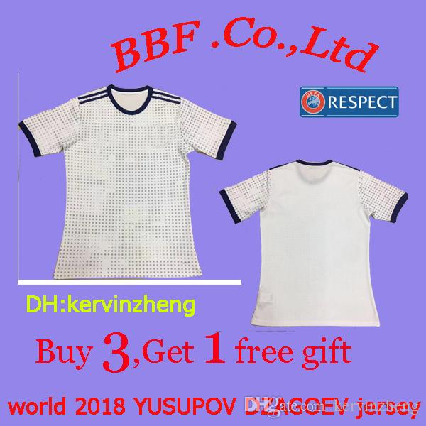 new styles 58a4e 63ddc Thailand 2018 national team away soccer jerseys ARSHAVIN jersey YUSUPOV  jerseys DZAGOEV KOMBAROV 22 DZYUBA jerseys 18 19 Football Shirts