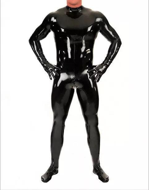 2018 Latex Catsuit Men Zentai Bodysuit With Gloves Socks Back Zip Party Wear Customized From Vikey Dhgate Com