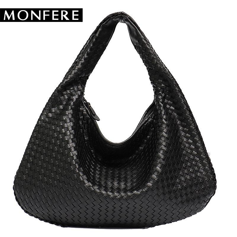 0646ed015 Compre MONFERE Nova Marca De Couro Vegan Hobo Bag Handmade Tecido Casual  Feminino Bolsa De Grande Capacidade Patchwork Zipper Mulheres Sacos De Ombro  ...