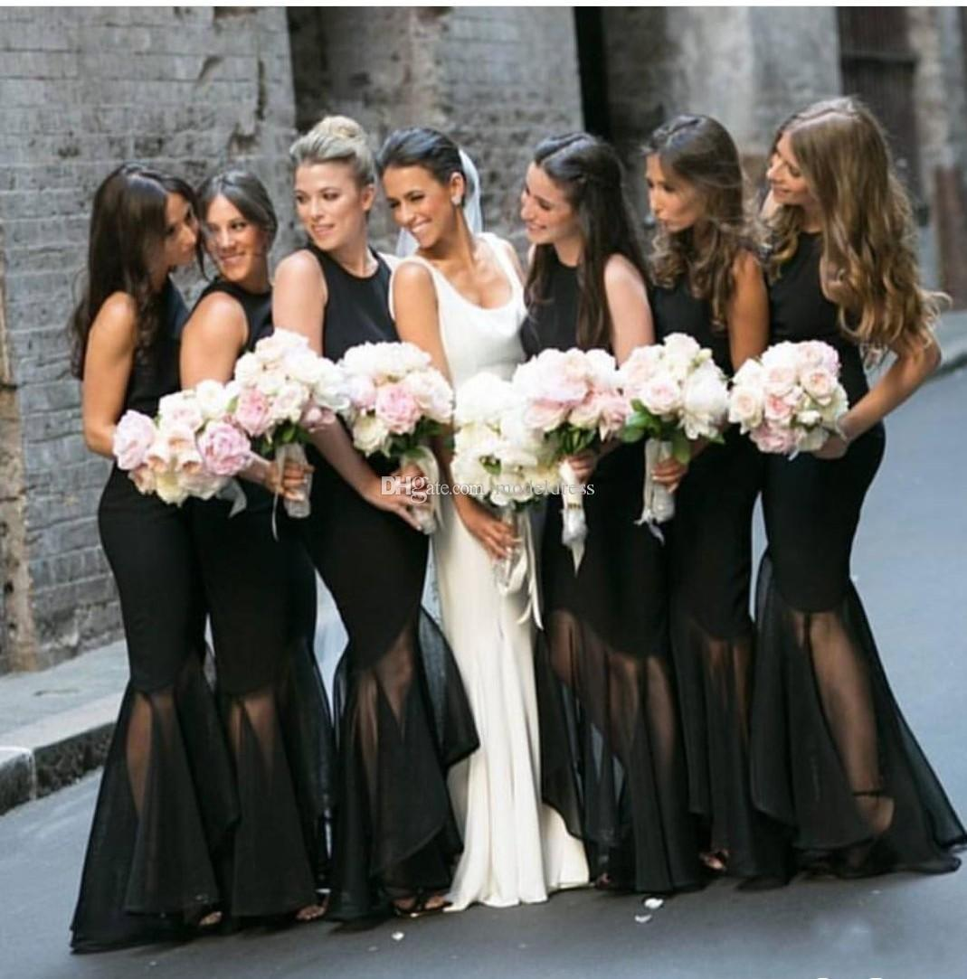 8f0f35c9f 2018 New Design Black Bridesmaids Dresses Jewel Mermaid Floor Length Formal  Country Beach Maid Of Honor Prom Party Gowns Cheap Customized Canada 2019  From ...
