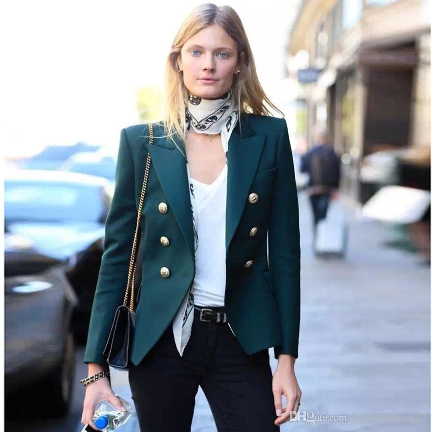 fee27a0bc44 2019 TOP QUALITY Newest 2018 Baroque Designer Blazer Women S Metal Lion  Buttons Double Breasted Blazer Jacket Size S XXL Dark Green From  Hollyfashion13