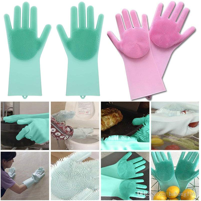 Practical Silicone Cleaning Glove Thicken Five Fingers Magic Washing Gloves For Kitchen Bed Bathroom Tool Hot Sale 38ym BB