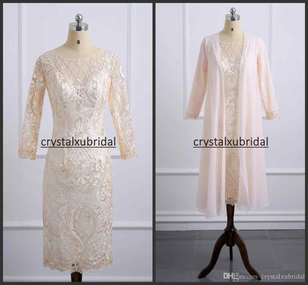 2e499995546 Champagne Lace Knee Length Mother Of The Bride Dresses With Jacket Appliques  Plus Size Long Sleeve Wedding Guest Dress Formal Evening Gowns Champagne  Mother ...