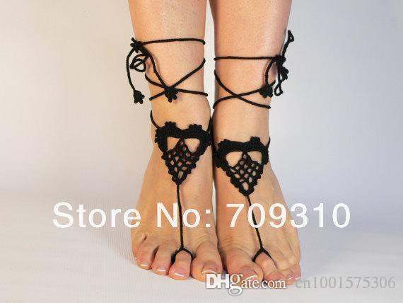 Lolita Barefoot Sandals- Bridal, Bridesmaids Gifts- Crochet Sandals, Sexy Sandals, Nude Shoes, Lace, Accossories for Women..