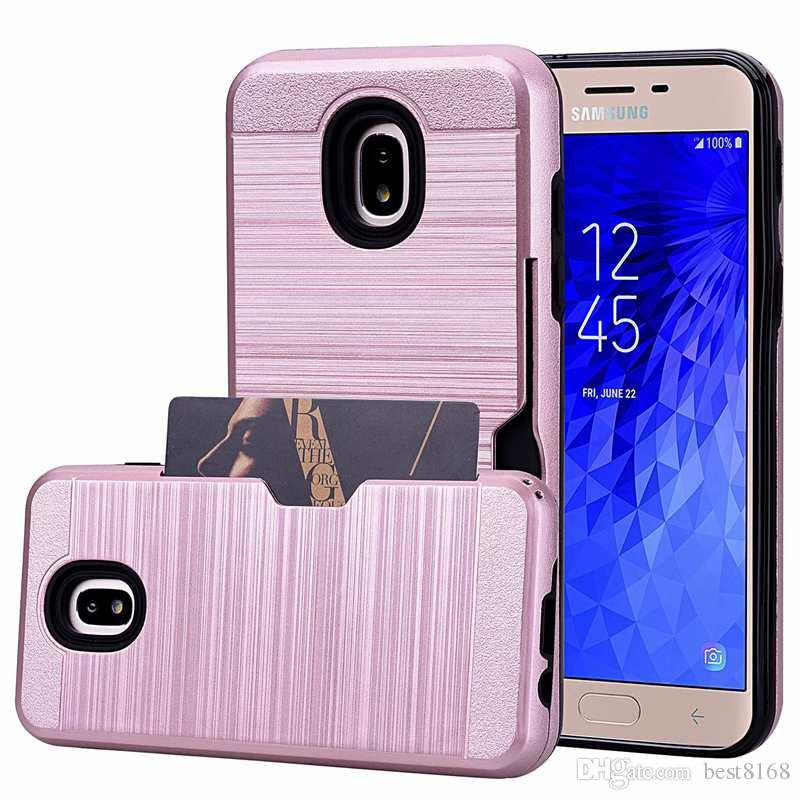 Card Box Hybrid Case For LG K10 LV3 2018 stylo 3 Galaxy (J3 J7)2018 Moto E4 Bling Brushed Hard PC+TPU ShockProof Defender Armor Cover Slot