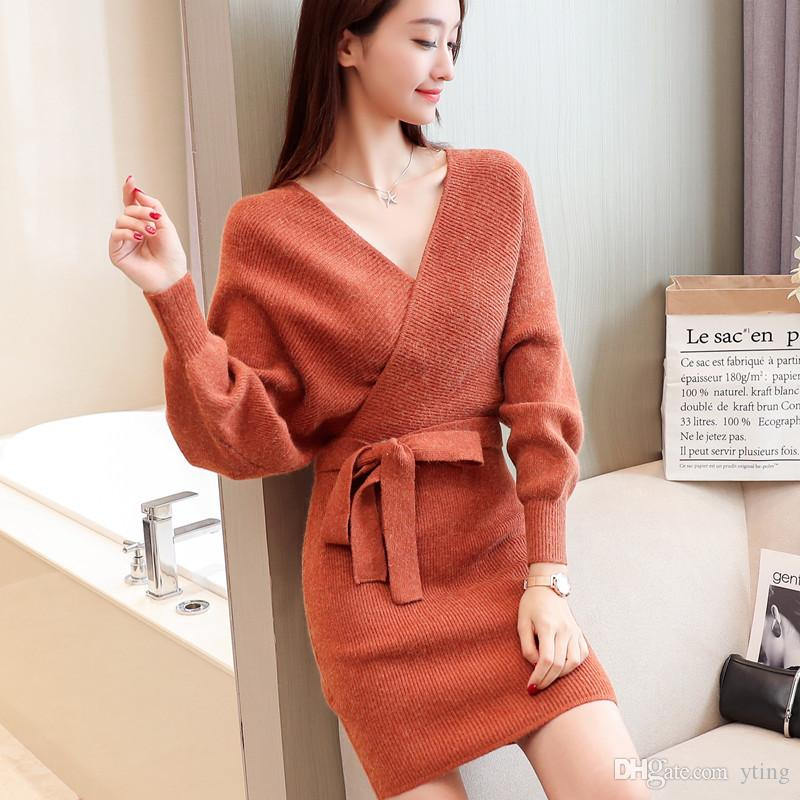 8f9a6800a08 Autumn New Package Hip Dress Women S Large Sweater Long Section V Neck Belt  Sweater Skirt Winter Ball Gowns Wrap Dress From Yting