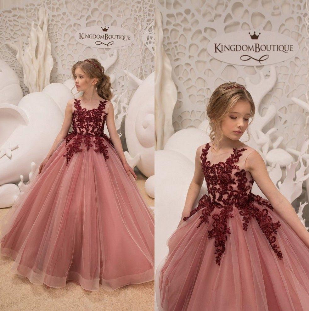 2019 Crew Neck Tulle A Line Flower Girl s Dresses Lace Applique ... b2151f82a700