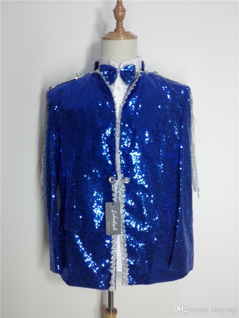 Paillettes bleues pour hommes Vestes Cristaux Glands slim Manteaux Bar Chanteur de bal Danseurs Costumes Scène de fête Performance Vêtements Spectacle de jazz