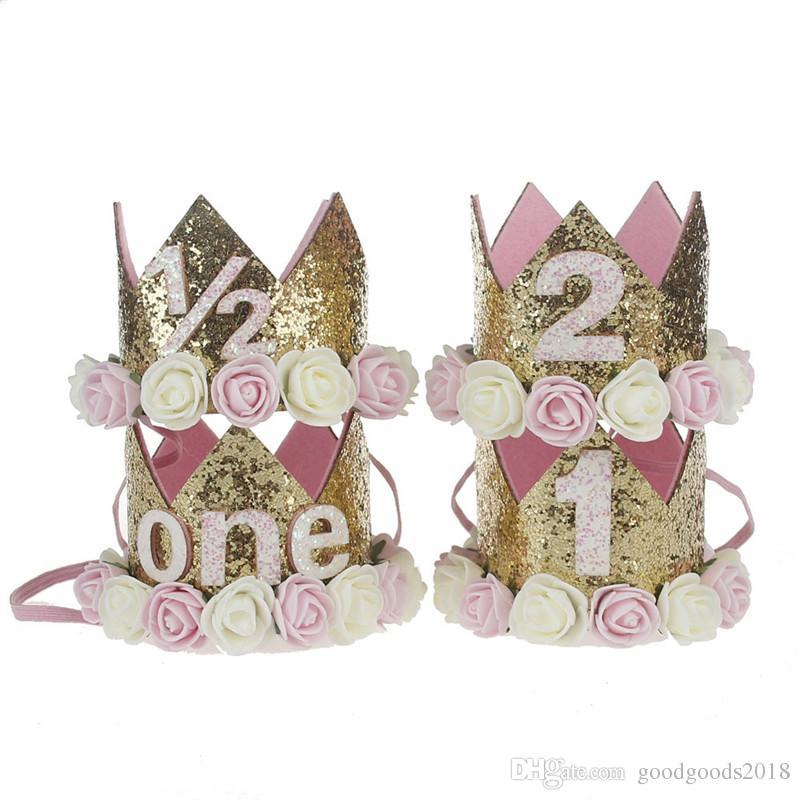 flower Crown Baby Girls Newborn Infant Headband Birthday Crown Flower Headbands Party Glitter Sparkle Hair Bands Accessories TO699