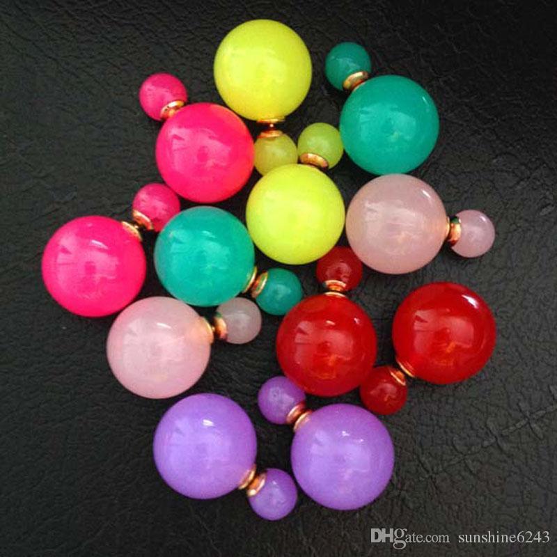 Смешанные лоты двухсторонние жемчужные серьги-гвоздики Прекрасные конфеты Цвета Горячие Продажа Большой шар Серьги мода свадебные украшения