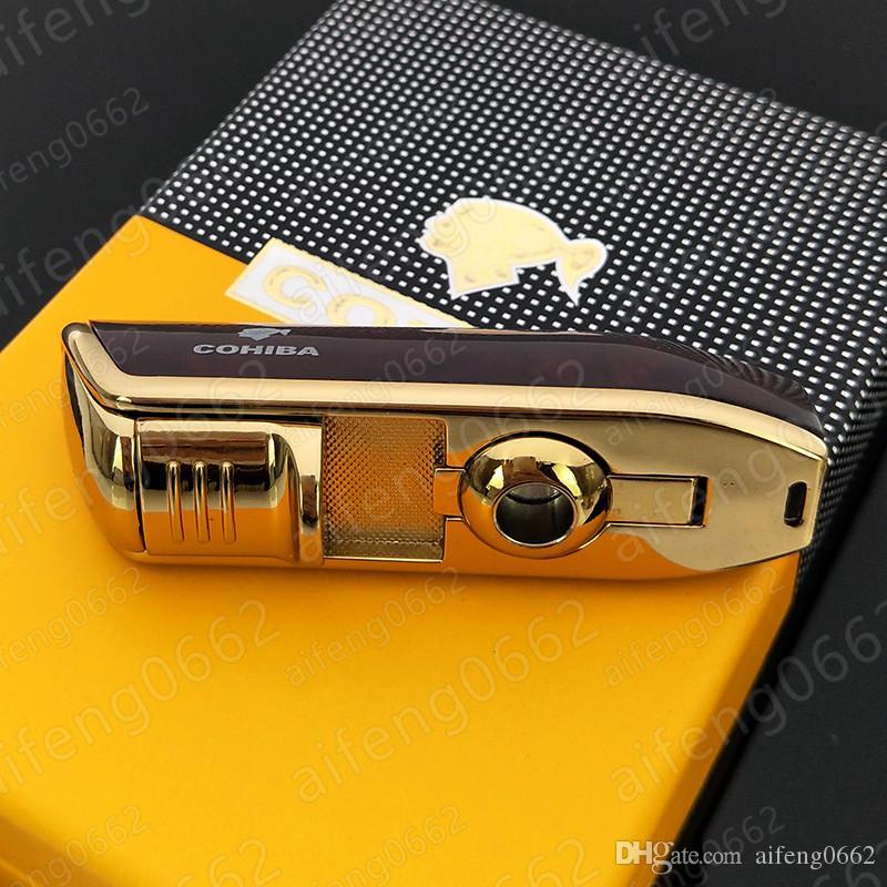 고품질 프로모션 코 히바 YELLOW 금속 펀치 L003 3 TORCH JET 불꽃 시가 담배 라이터